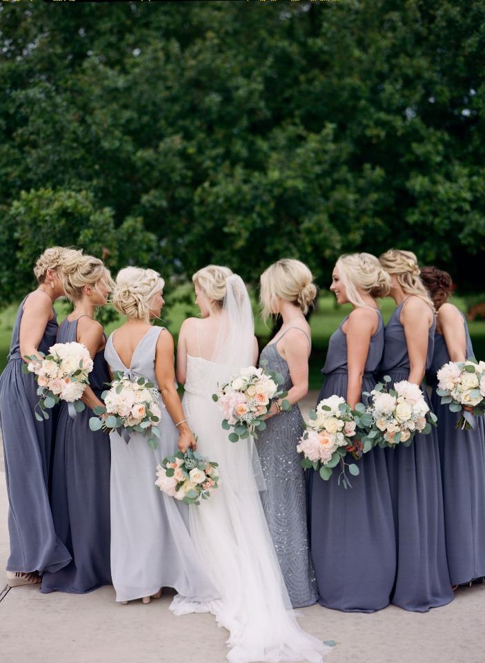 deep gray blue bridesmaid dresses