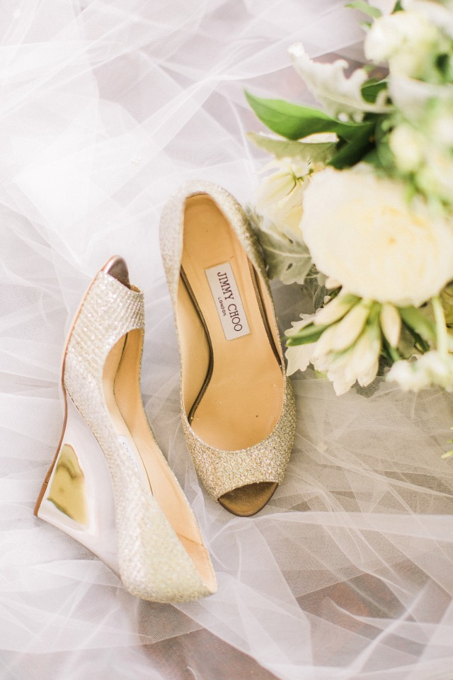 gold wedge Jimmy Choo wedding shoes