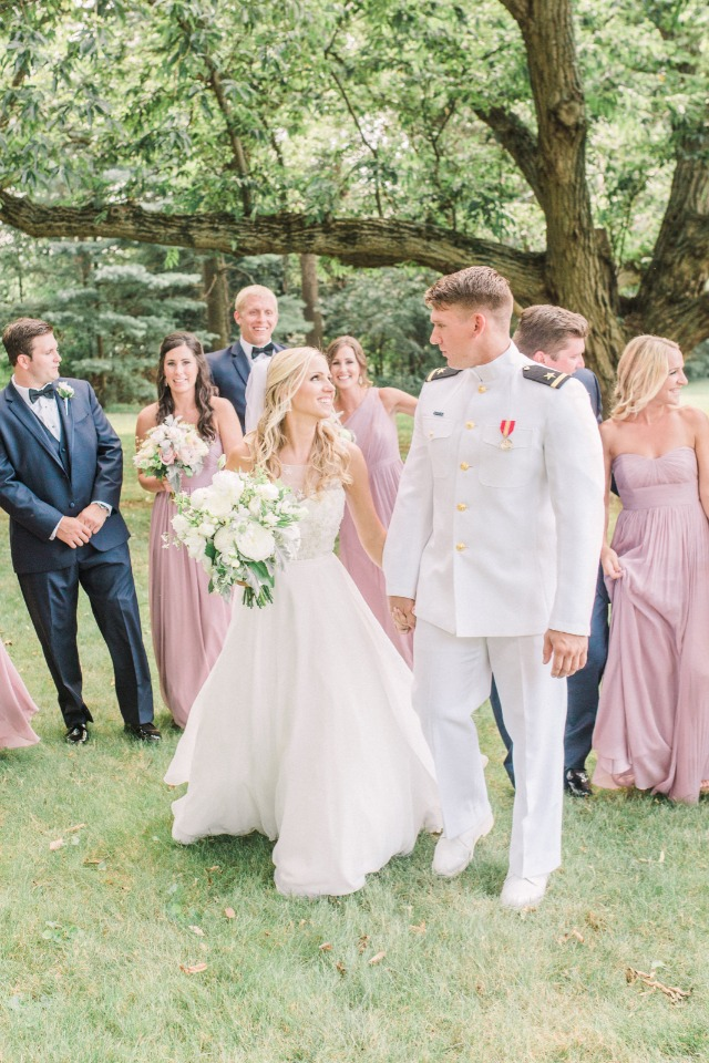 sweet white pink and navy wedding party