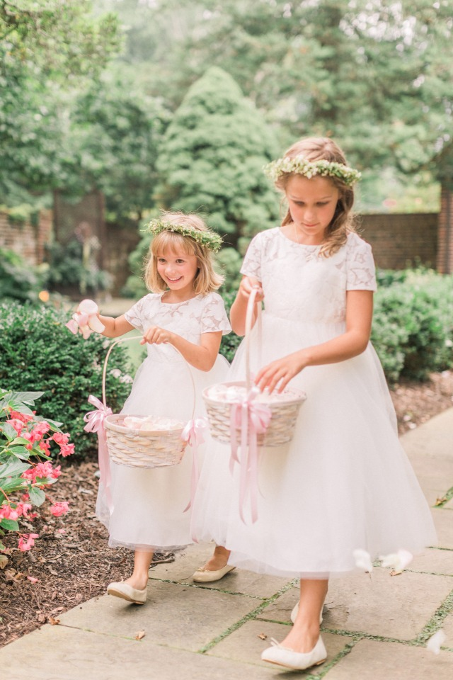 sweet flower girls in matching dresses and flower halos