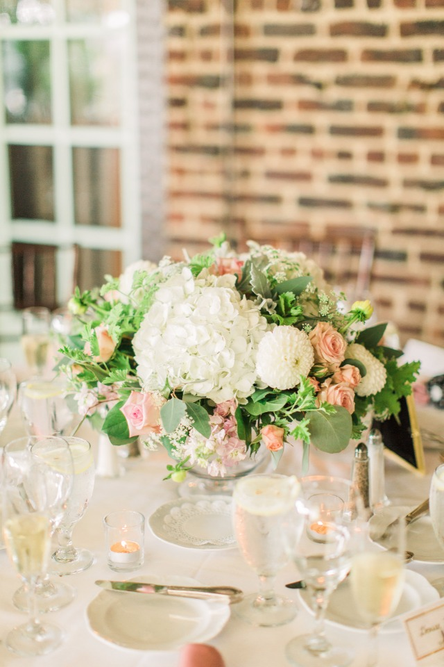 white and pink wedding centerpiece