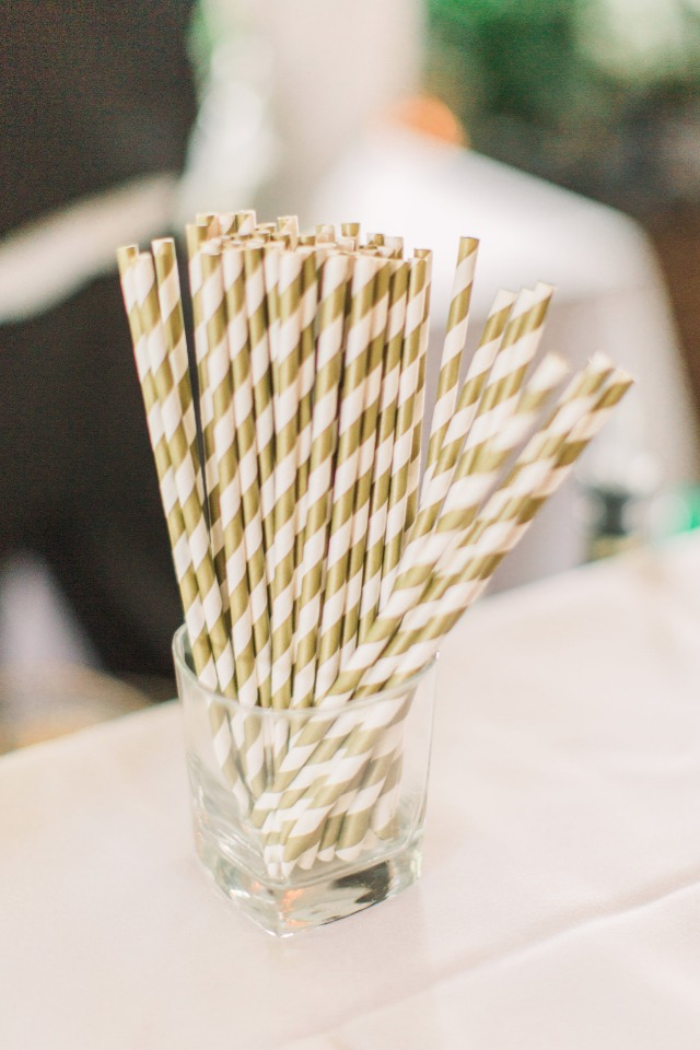 gold and white striped wedding straws