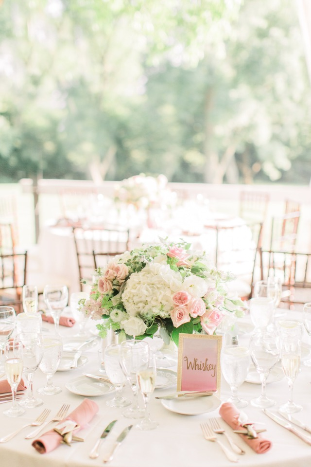 soft pink and gold wedding table decor