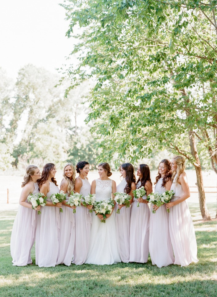 Bridesmaids in blush gowns