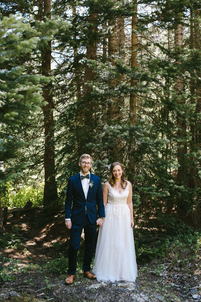 forest wedding couple