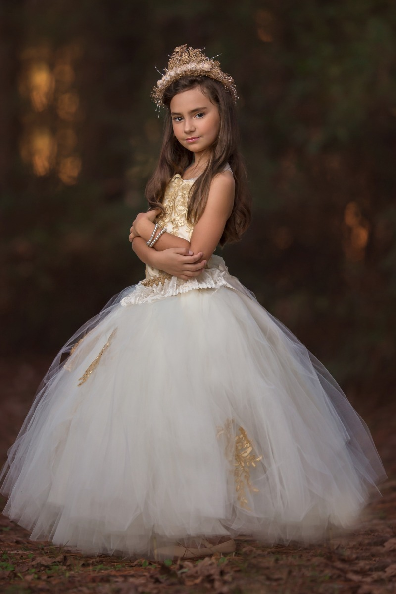 New gold and ivory flowergirl dress custom made for your pretty princess