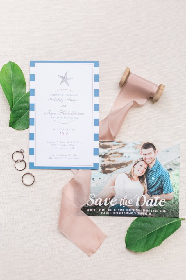 nautical wedding invitation and photo save the date