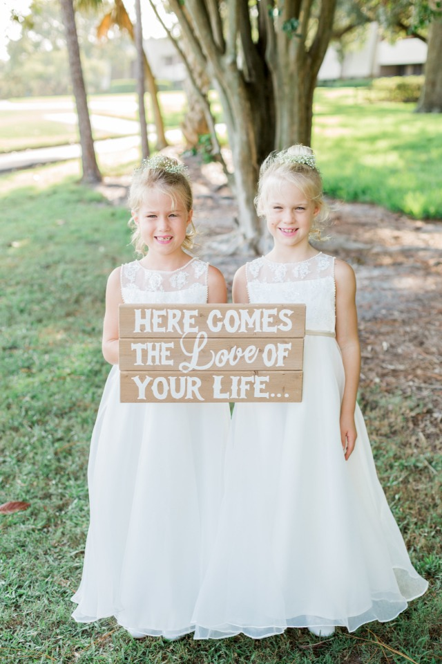 here comes the love of your life flower girls sign