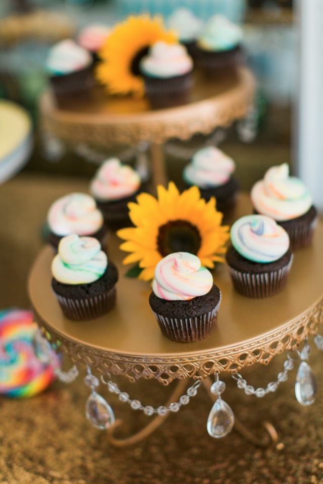 rainbow frosted mini cupcakes