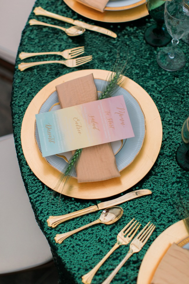 rainbow inspired wedding menus
