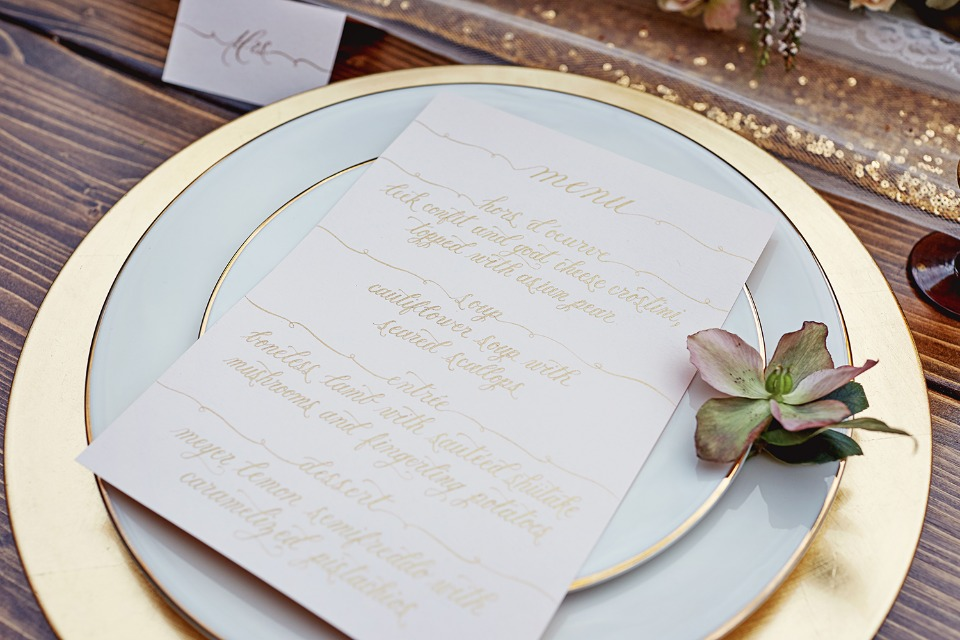 Gold calligraphy wedding menu