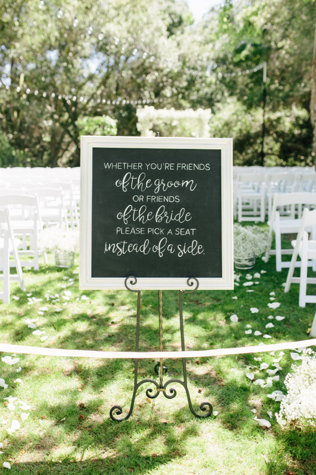 wedding ceremony seating chalkboard sign