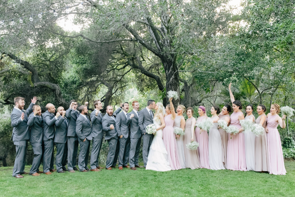 grey and pink wedding party looks