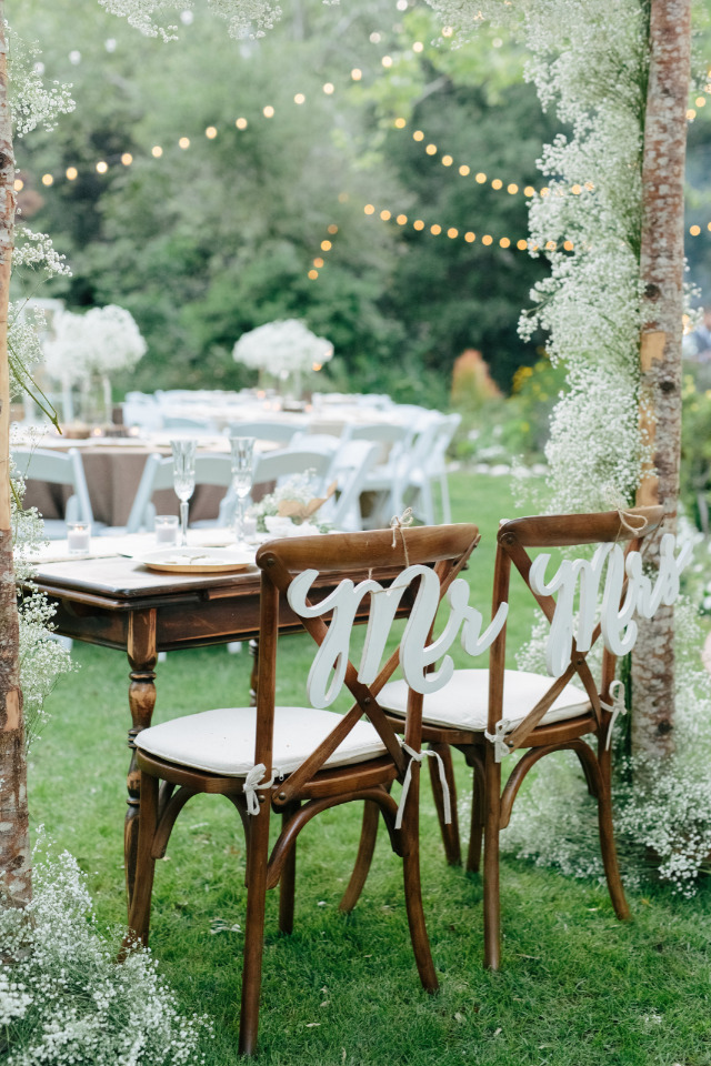 white mr and mrs wedding chair signs