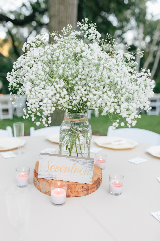 A white and pink wedding with baby s breath for days