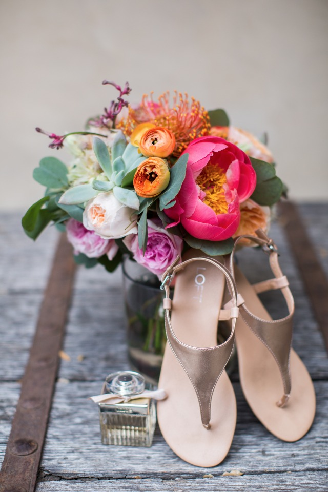bright wedding bouquet and wedding shoes