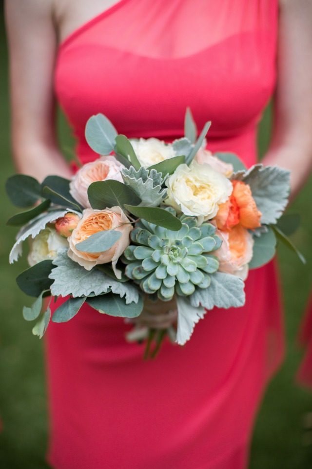 bridesmaids bouquet in peach and white
