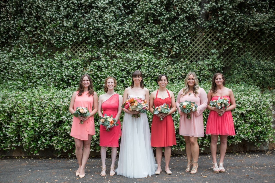 mis matched coral bridesmaid dresses