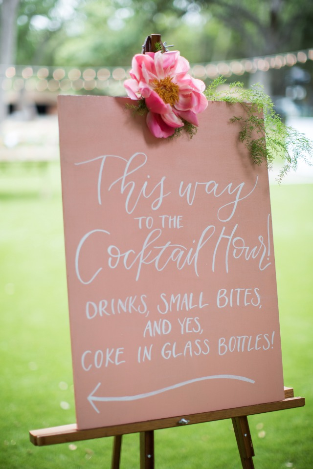 this way to the cocktail hour wedding sign
