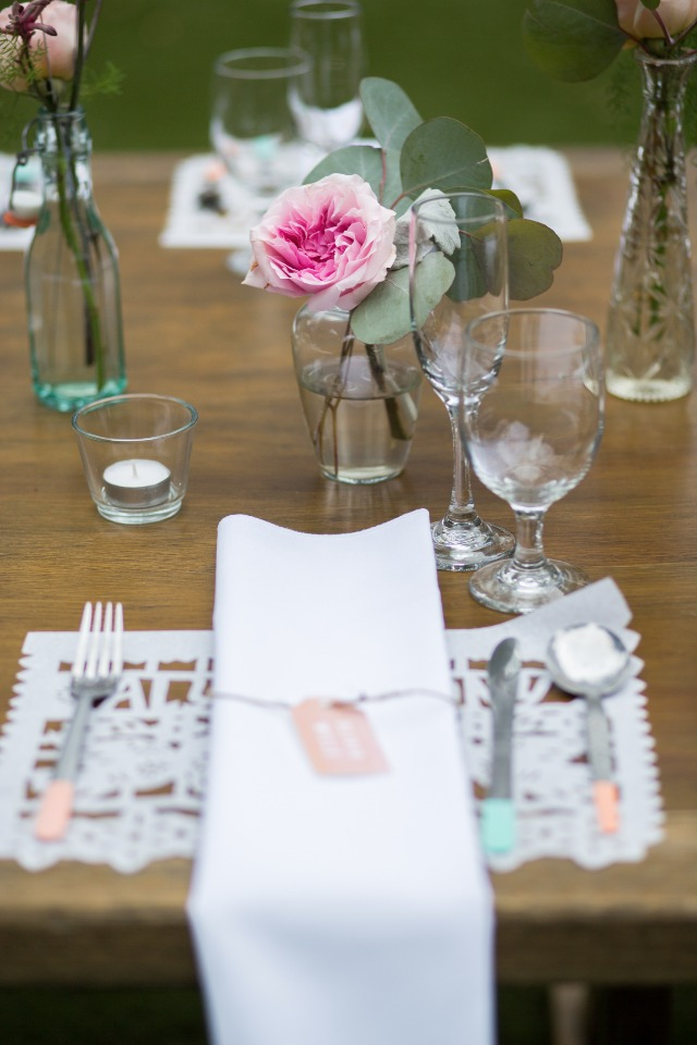 peach and teal wedding place setting