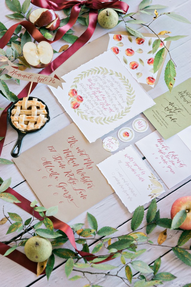 apple picking inspired wedding stationery