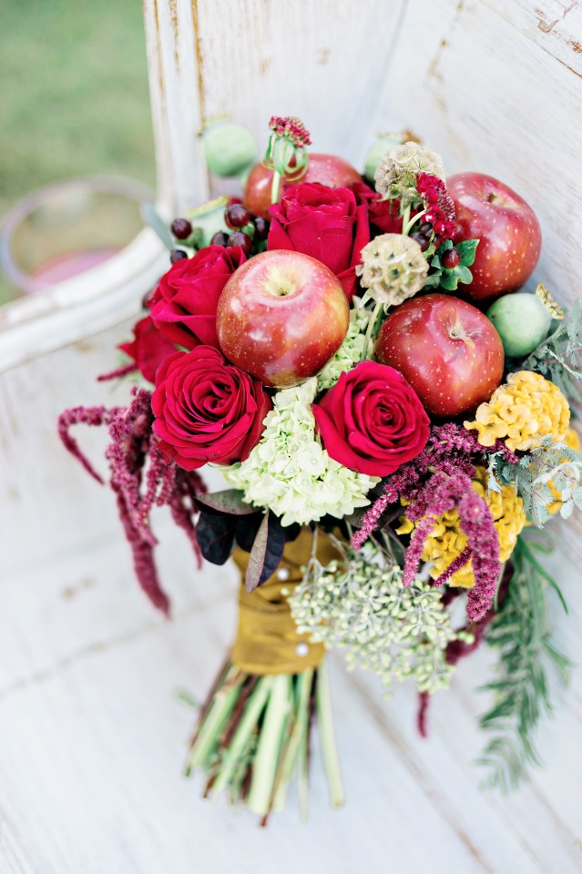 apple accented wedding bouquet