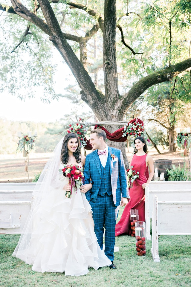 happy newlyweds at their outdoor wedding ceremony