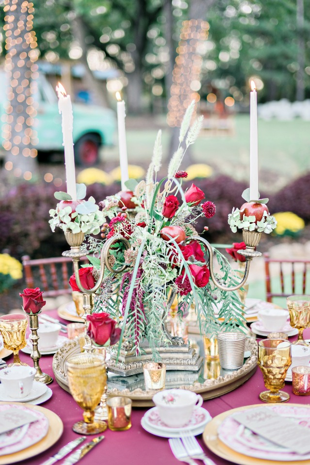 flower draped candelabra centerpiece