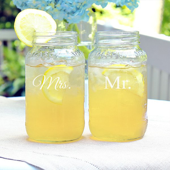 Mrs. and Mr. Mason Jar Glasses