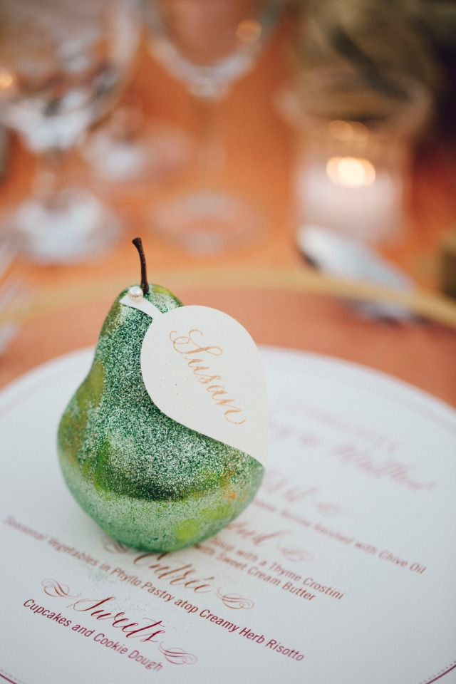 Sparkly pear place card