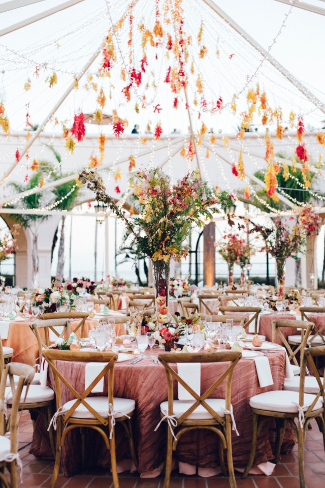Stunning outdoor fall reception in Santa Barbara