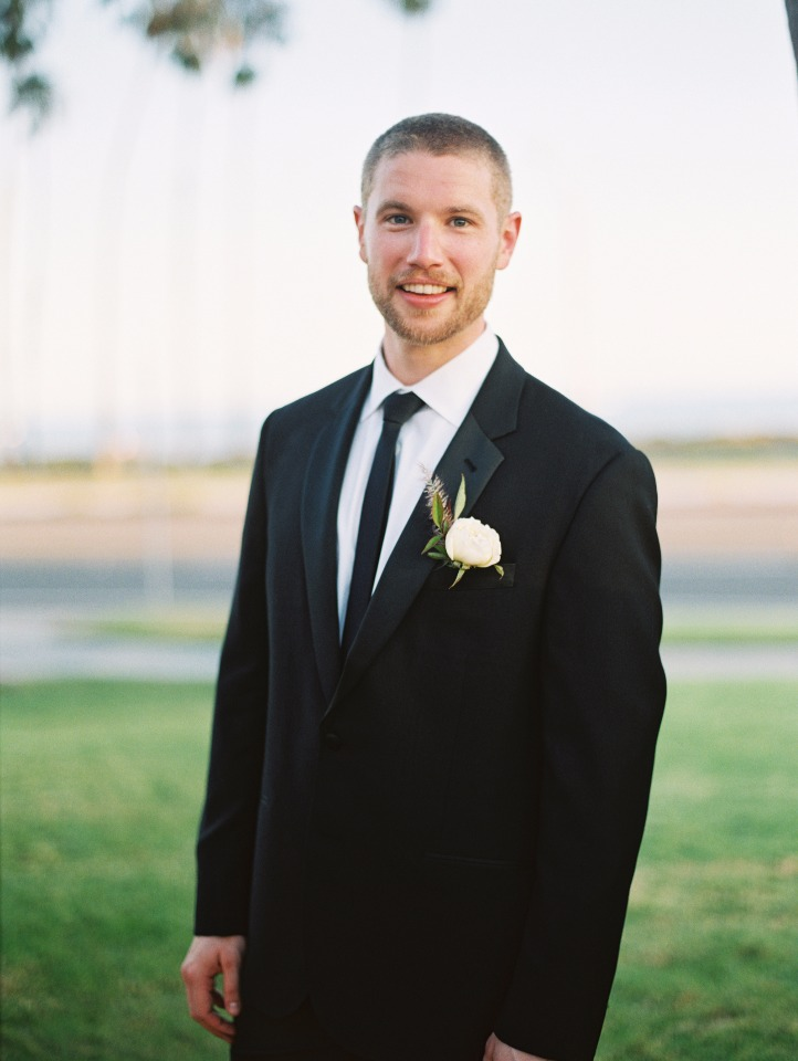 Classic black suit for the groom