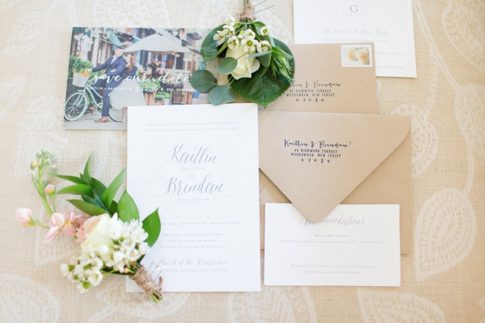 classic white and silver wedding invitation suite