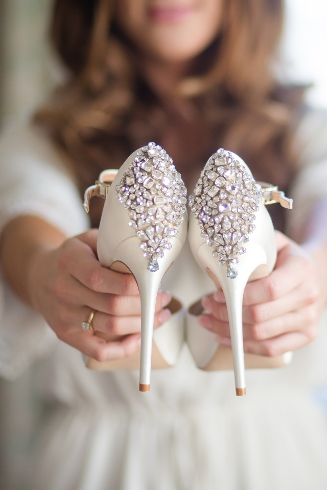 sparkly white wedding shoes