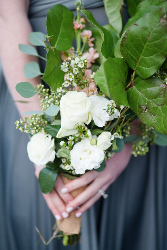 bridesmaid bouquet with classic white roses