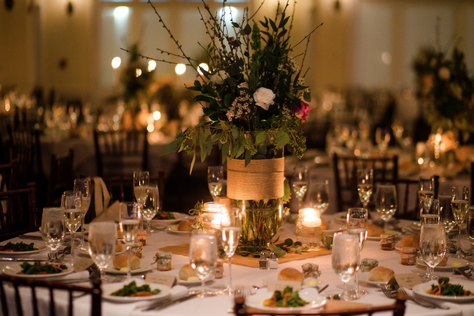 glowing candle lit wedding reception