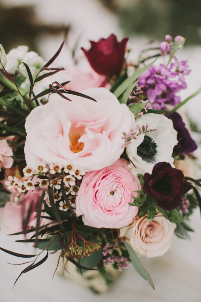 soft pink and deep maroon winter wedding flowers
