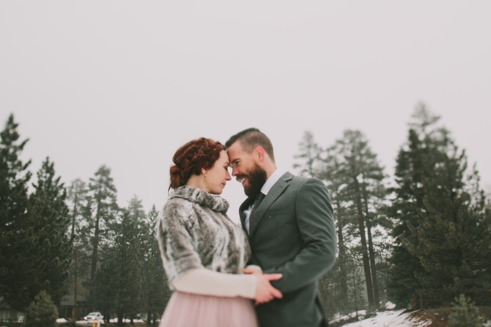 bride and groom in their own winter wonderland