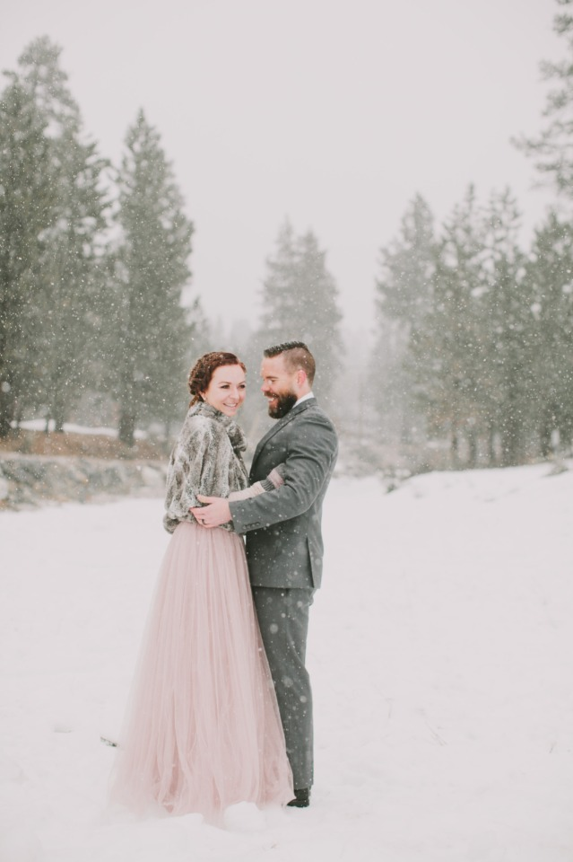 soft pink tulle skirt and fur wedding look