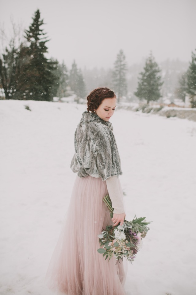 cozy bridal look in fur and pink tulle