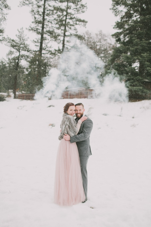 setting off smoke bombs for your wedding photos