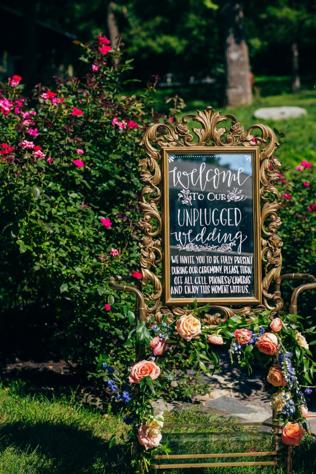 Unplugged welcome wedding sign