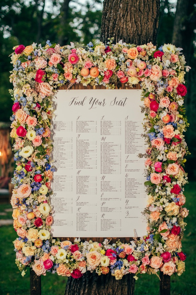 Floral framed seating chart