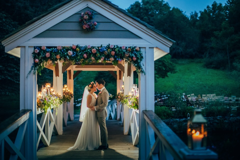 Wedding bridge with florals and candles