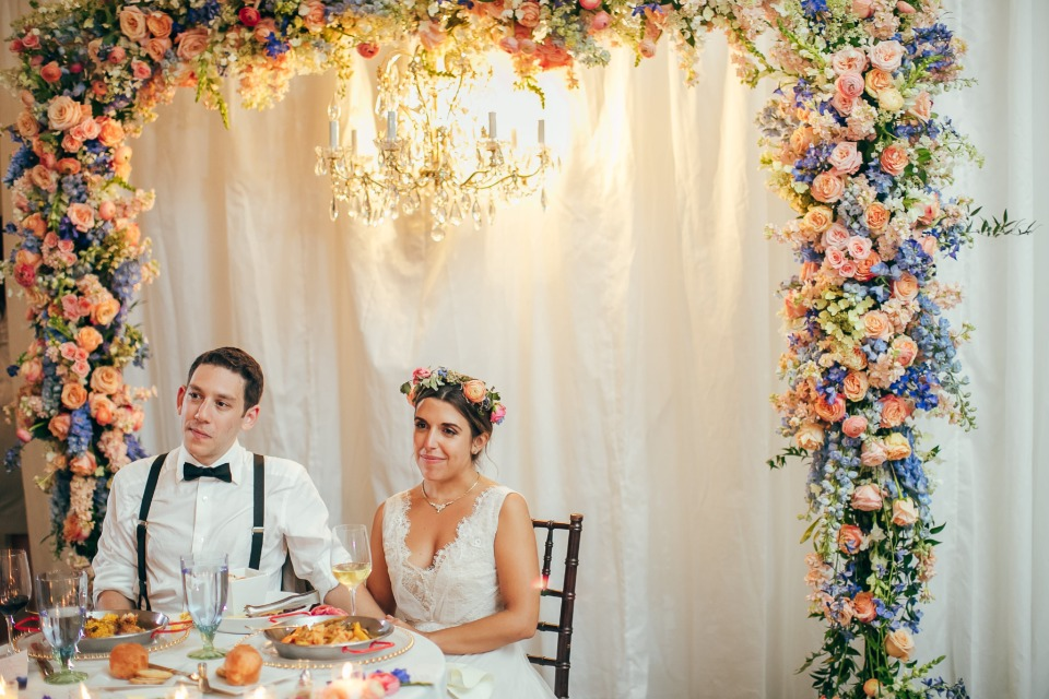 Floral arch with chandelier