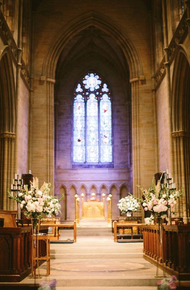 Beautiful indoor cathedral ceremony