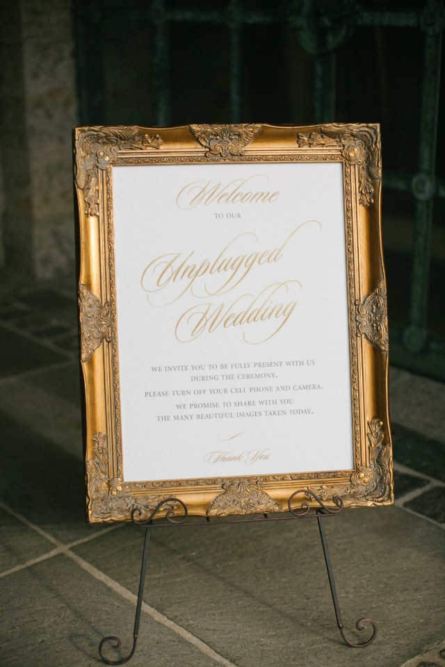 Gold framed unplugged wedding sign idea