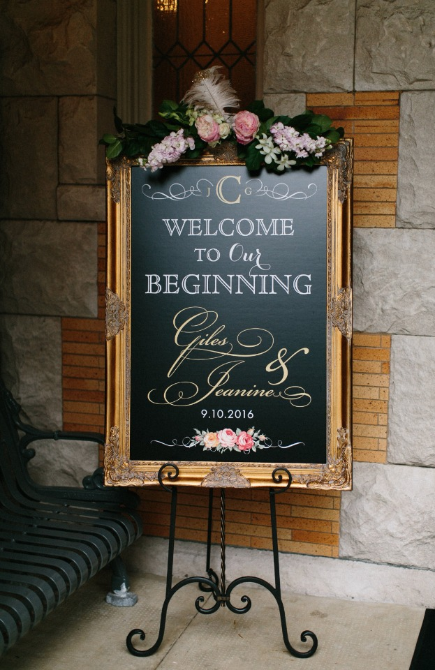 Welcome wedding sign in a gold frame with florals