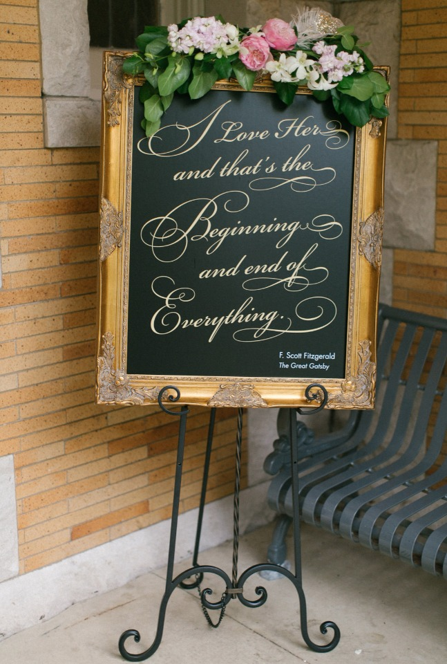 Gold frame + florals wedding sign