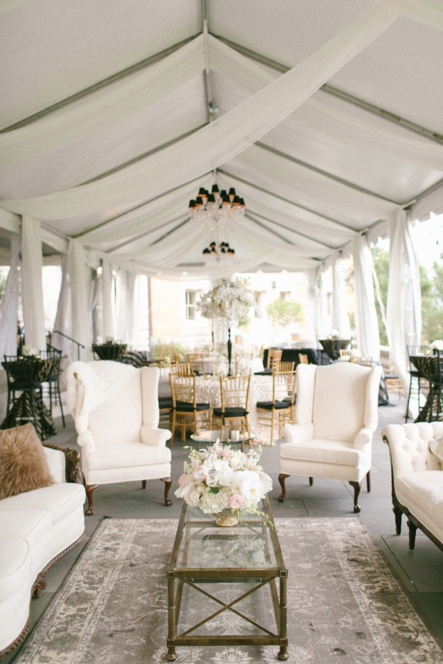 Black and white reception lounge area
